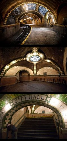 """NY I will return and see this!  CITY HALL SUBWAY STOP.""""If you ride the 6 train to the end of the line and get off at the Brooklyn Bridge stop, you're missing out on something incredible. As the train loops around to go back uptown, it passes through an abandoned and beautifully preserved City Hall station from 1904.The city closed the station in 1945."""