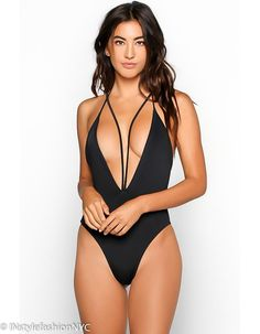 a942d2abca433 Women's Black Strappy One Piece Swimwear - INstyle fashion NYC Plus Size  Swimsuits, Women Swimsuits