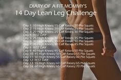 Diary of a Fit Mommy's 14 Day Lean Legs Challenge