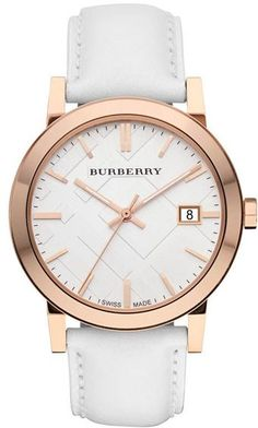 Rosegold on white Burberry watch.