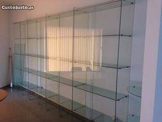 Vitrine expositor armario estante em vidro