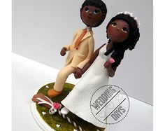 Jumping the broom wedding cake topper - handmade, original and exclusive piece.