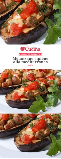 Melanzane ripiene alla mediterranea Breakfast For Dinner, Relleno, Finger Foods, Baked Potato, Food To Make, Side Dishes, Clean Eating, Food And Drink, Yummy Food