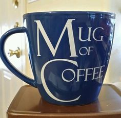 collectible  Mug of Coffee from The Old Pottery Company BIG Giant BLUE Coffe mug #THEOLDPOTTERYCOMPANY