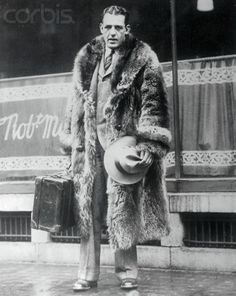 Famed College and Pro Football Player of the 20s: Red Grange in his raccoon coat.