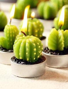 6-PC Mini Cactus Wax Tealight Candle Set-GoGetGlam