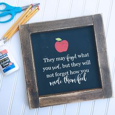 Show your childs teacher some back to school love with this adorable motivational quote sign. Its painted black but looks like a chalkboard which will add the perfect charm to any classroom. Finished off with a dark walnut stained and distressed frame and ready to hang. {Measures