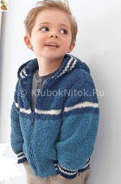 Синий жакет с капюшоном   Вязание для детей   Вязание спицами и крючком. Схемы вязания.