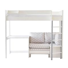 This smart kids' high sleeper bed has a spacious desk AND a cosy nook that easily converts into a sofa bed. Check out the Merlin High Sleeper with Desk here. High Sleeper With Desk, High Sleeper Bed, Bunk Bed With Desk, Bed Cushions, Sofa Bed, Spare Bed, Cool Kids Rooms, Grey Desk, Bedroom Layouts