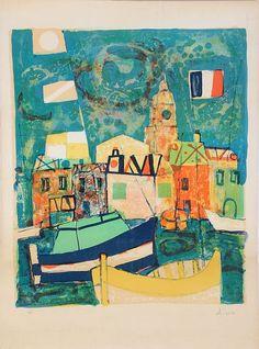 Paul Augustin Aizpiri (b. 1919) Untitled, Harbor Scene, Lithograph,