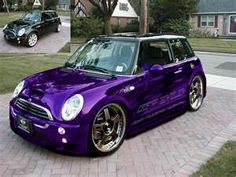 Purple Mini Cooper S. DREAM CAR, but with a chrome roof :)