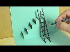 New mixed reality illusion. How to make a mixed reality. Cool anamorphic graphic with charcoal pencil. Staircase and a ladder illusion. 3d Illusion Drawing, 3d Art Drawing, Illusion Art, 3d Drawings, Realistic Drawings, Drawing Skills, Pencil Drawings, Drawing Tips, Drawing Ideas