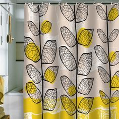 Yellow, Black And White Guest Bathroom