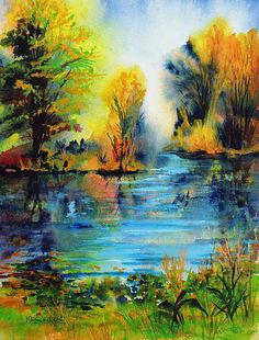 Watercolor of a small lake in Michigan, prints available at http://fineartamerica.com/art/all/mary+schiros/all