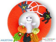 Häkelanleitung Halloween Dekokranz von Bunt gehäkelt von Petra auf DaWanda.com