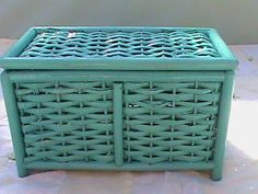 Turquoise Wicker Basket by RetroRevolutions on Etsy, $9.95