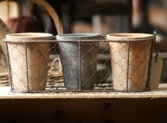 Three mixed pots in basket
