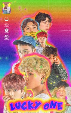 "EXO album cover ""lucky one"" Retro Graphic Design, Graphic Design Posters, Graphic Design Inspiration, 80s Posters, Kpop Posters, Retro Aesthetic, Kpop Aesthetic, Vaporwave, L Wallpaper"
