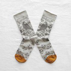 Bonne Maison socks made in France Grey Bird