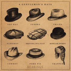 Know your different styles of hats. So when you go shopping you know what to ask/look for.