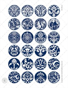 Damask Ornaments Printable Downloads Digital by CobraGraphics