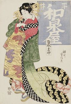 Courtesan of the Izumiya. Ukiyo-e woodblock print, early 19th century, Japan, by artist Yanagawa Shigenobu I