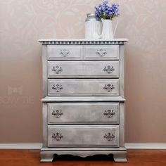Tall dresser chalk painted with tones of gray over textured and shading. Using Dixie Belle chalk paint #dixiebellepaint #bowtietreasures Chalk Paint Dresser, Painted Dressers, Tall Dresser, White Chalk Paint, Chalk Paint Furniture, Furniture Design, Painted Furniture For Sale, Repurposed Furniture, Antique Buffet