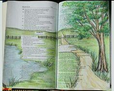 Beautiful illustration of Psalms Bible Study Journal, Scripture Study, Bible Art, Bible Verses, Art Journaling, Scripture Journal, Scriptures, Prayer Journals, Journal Art
