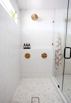 Evergreen House: Master Bathroom Reveal - Juniper Home Tile Shower Shelf, Bathroom Floor Tiles, Shower Floor, Bungalow Bathroom, Rental Bathroom, Bathroom Laundry, Chic Bathrooms, Washroom, Blue Bathroom Decor