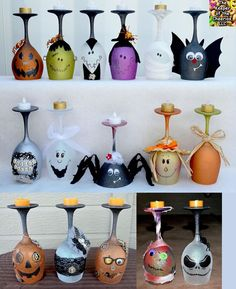 Over 40 of the BEST Homemade Halloween Decorating Ideas Halloween Wine Glass Candle Holders…these are the BEST Homemade Halloween Decorations & Craft Ideas! Dulceros Halloween, Adornos Halloween, Manualidades Halloween, Halloween Projects, Holidays Halloween, Group Halloween, Halloween Crafts To Sell, Halloween Kitchen, Spirit Halloween