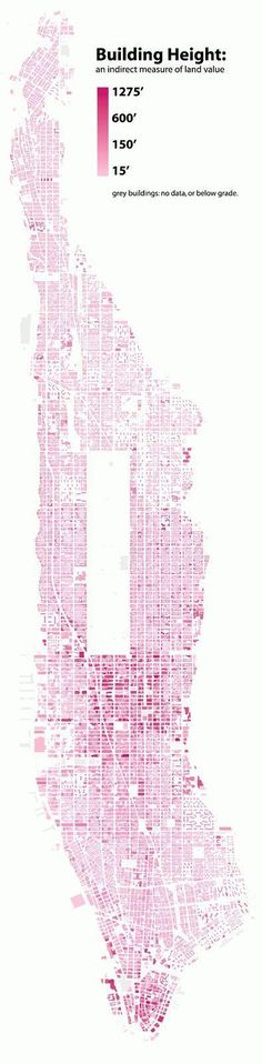 A new reference guide for urban planning Building Heights infographic Architecture Mapping, Architecture Board, Architecture Graphics, Architecture Drawings, Architecture Design, Urbane Analyse, Urban Mapping, Manhattan Buildings, Map Diagram