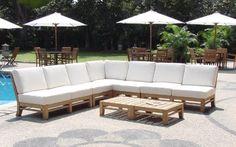 WholesaleTeak Modern 7-PC Teak Sectional Sofa Set - Beachfront Decor