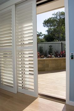 Nice example of sliding glass door shutters or also referred to as bi-pass shutters.
