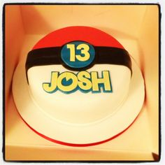 Pokemon Cake idea - flat pokeball cake with age and name but well done. I'd add maybe just one figurine or fondant character to the board next to the cake. Pokemon Birthday Cake, Pokemon Party, Pokemon Cakes, Easy Pokemon, 9th Birthday, Birthday Cakes, Birthday Ideas, Pokeball Cake, Pikachu Cake
