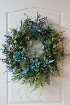 Beautiful Teal Blue and Lime Green Front Door by FloralsFromHome