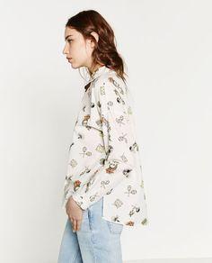 Image 2 of PRINTED POPLIN SHIRT from Zara