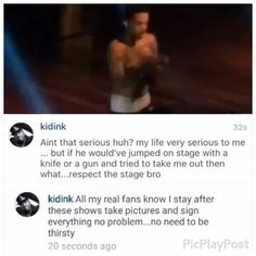 @Regrann from @theshaderoominc -  #PressPlay: #KidInk steps into The Shade Room to defend his security guard for pushing fan off stage #Regrann