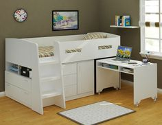 This delightful Jupiter bunk is the perfect space-saving solution boasting a tallboy, a desk, and a cupboard as well. The Jupiter is an excellent way to maximise space in your child's bedroom...