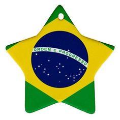 Brazil Brazilian Flag Star Shaped Porcelain Christmas Ornament