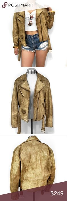 Vintage metallic leather moto jacket Ugh. Love this. Super chic! I take all photos myself of the actual item. No trades. Always open to offers Vintage Jackets & Coats