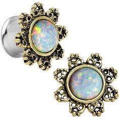 00 Gauge Steel White Synthetic Opal Flower Screw Fit Saddle Plug Set   Body Candy Body Jewelry