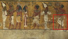 11/23/2015-Scans of the north wall of King Tutankhamun's burial chamber have revealed features beneath the intricately decorated plaster (highlighted) a researcher believes may be a hidden door, possibly to the burial chamber of Nefertiti.