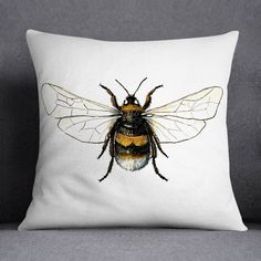 Buff Tailed Bumble Bee Illustrated Printed Cushion