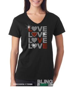 Valentines Day Bling T-Shirt, V-Day Shirt, Valentines Gift- SHIPS starting Jan 4, 2016 by BlingByCricket on Etsy