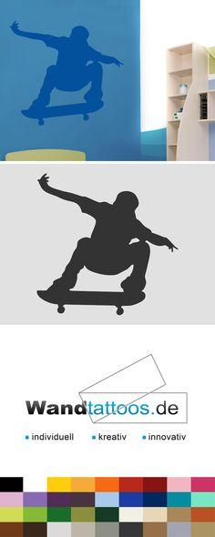 Wandtattoo Skateboarder als Idee zur individuellen Wandgestaltung. Einfach Lieblingsfarbe und Größe auswählen. Weitere kreative Anregungen von Wandtattoos.de hier entdecken!