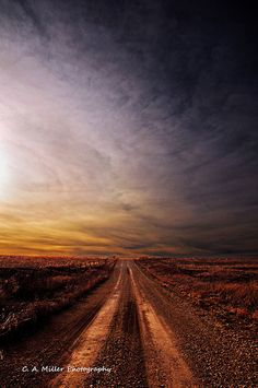 Down a Kansas Dirt Road. One day I'll meet my soulmate and kiss him on a road like this 😍 Beautiful Roads, Winding Road, Back Road, By Train, Countryside, Paths, Nature Photography, Sunrise, Scenery