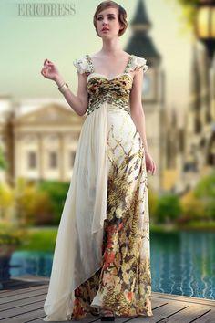 Modern A-Line Floor-Length Spaghetti Strap Prom Dress