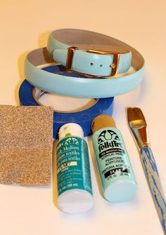 diy painted leather belt - mix acrylic and textile medium and make custom color belts!
