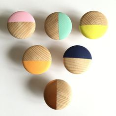 the knobs are made of beech wood (diameter and painted with acrylic paint. the knobs are screwed (screw is attached) the price refers to 1 knob after the purchase please specify color. Wooden Door Design, Wooden Doors, Diy Haken, Cupboard Shelves, Drawer Knobs, Drawer Pulls, Coat Hanger, Painted Doors, Furniture Restoration