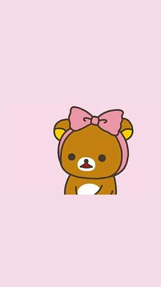 Rilakkuma with a pink bow Rilakkuma Wallpaper, Kawaii Wallpaper, Cute Wallpaper Backgrounds, Cute Cartoon Wallpapers, Wallpaper Iphone Cute, Diy Kawaii, Kawaii Shop, Cute Images, Cute Pictures